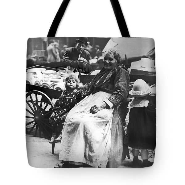 A Family And Their Push Cart Tote Bag by Underwood Archives