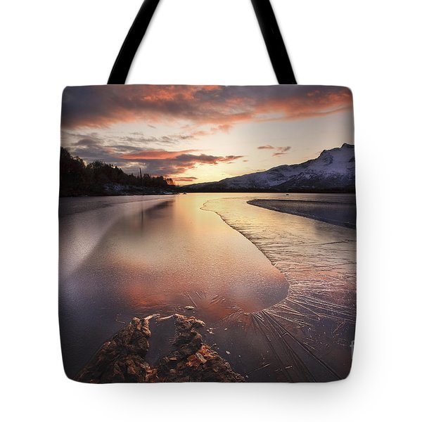 A Frozen Straumen Lake On Tjeldoya Tote Bag by Arild Heitmann