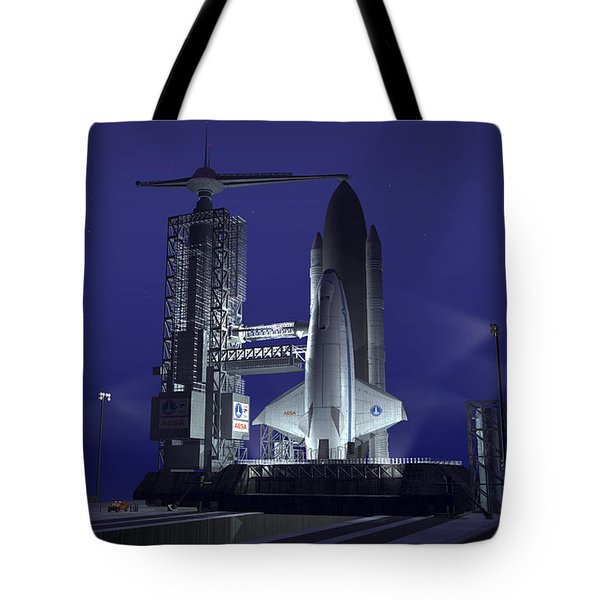A Futuristic Space Shuttle Awaits Tote Bag by Walter Myers