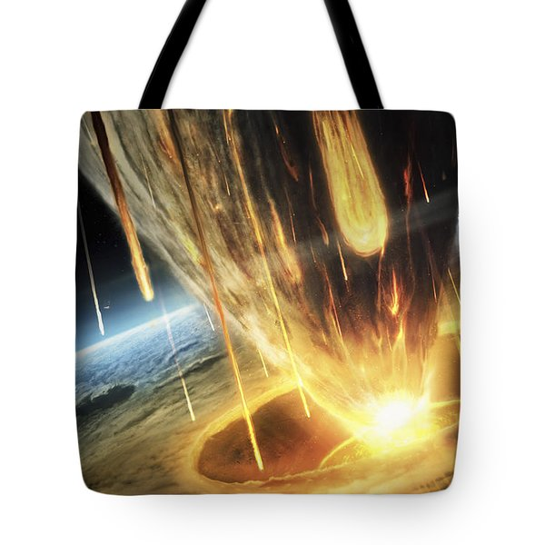 A Giant Asteroid Collides Tote Bag by Tobias Roetsch