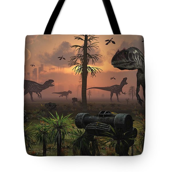 A Herd Of Allosaurus Dinosaur Cause Tote Bag by Mark Stevenson