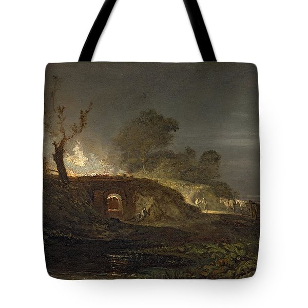 A Lime Kiln At Coalbrookdale Tote Bag by Joseph Mallord William Turner
