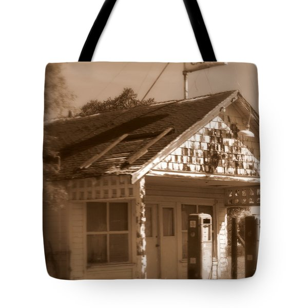 A Little Weathered Gas Station Tote Bag by Carol Groenen