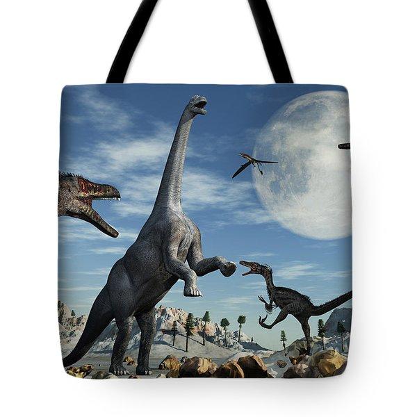 A Lone Camarasaurus Dinosaur Tote Bag by Mark Stevenson