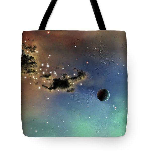 A Lonely Planet Is Lit By Two Stars Tote Bag by Brian Christensen