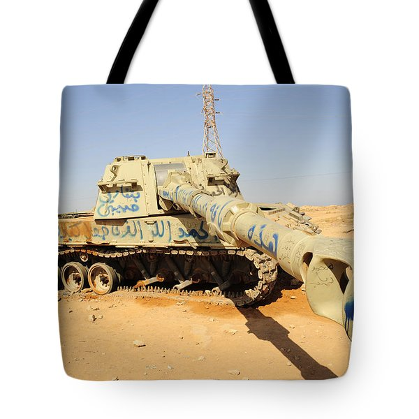 A M109 Howitzer Destroyed By Nato Tote Bag by Andrew Chittock