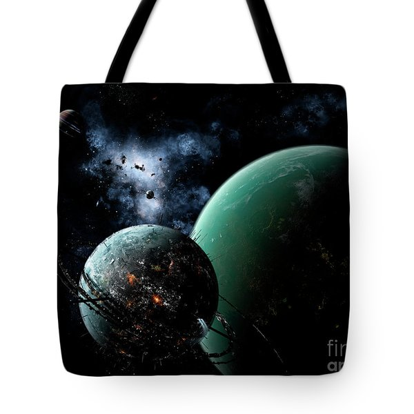 A Massive Space Station Orbits A Large Tote Bag by Brian Christensen