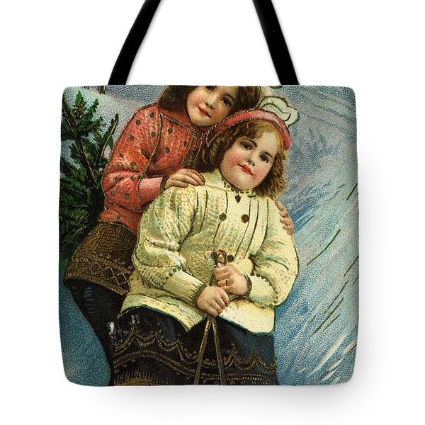 A Merry Christmas Postcard With Sledding Girls Tote Bag by American School
