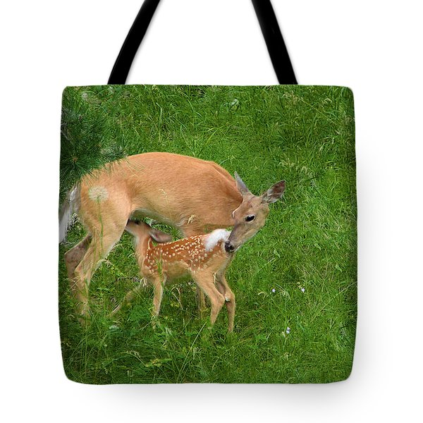 A Mother's Love - Doe and Fawn Tote Bag by Christine Till