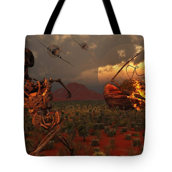 A Pair Of P-51 Mustang Fighter Planes Tote Bag by Mark Stevenson