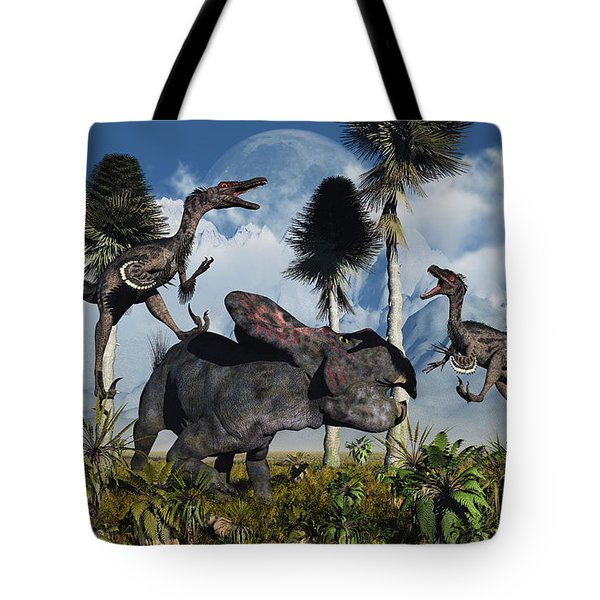 A Pair Of Velociraptors Attack A Lone Tote Bag by Mark Stevenson