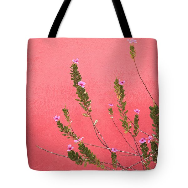 A Pink Flowering Plant Growing Beside A Tote Bag by Stuart Westmorland