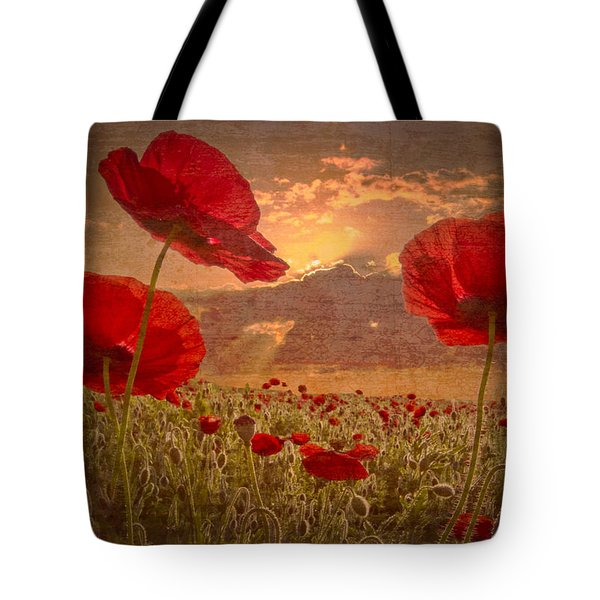 A Poppy Kind of Morning Tote Bag by Debra and Dave Vanderlaan