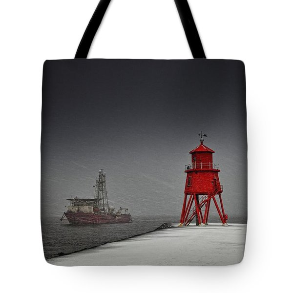 A Red Lighthouse Along The Coast In Tote Bag by John Short