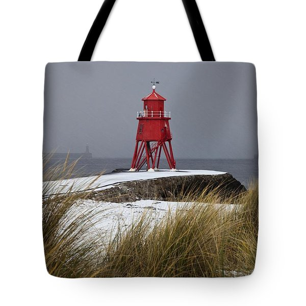 A Red Lighthouse Along The Coast South Tote Bag by John Short