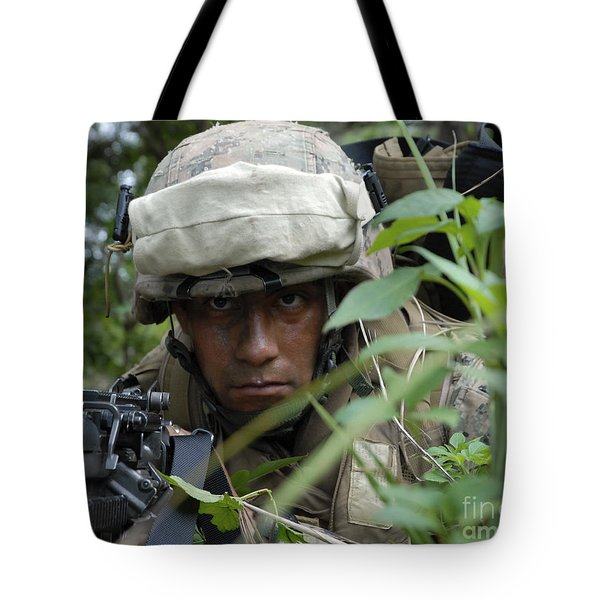 A Rifleman Conceals Himself Tote Bag by Stocktrek Images