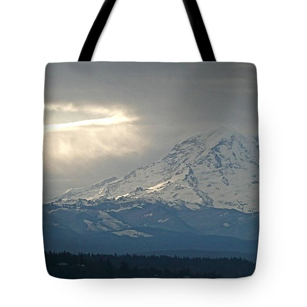 A Ring Of Bright Light Beside Mount Rainier Tote Bag by Sean Griffin