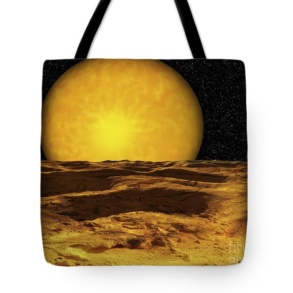 A Scene On A Moon Of Upsilon Andromeda Tote Bag by Ron Miller