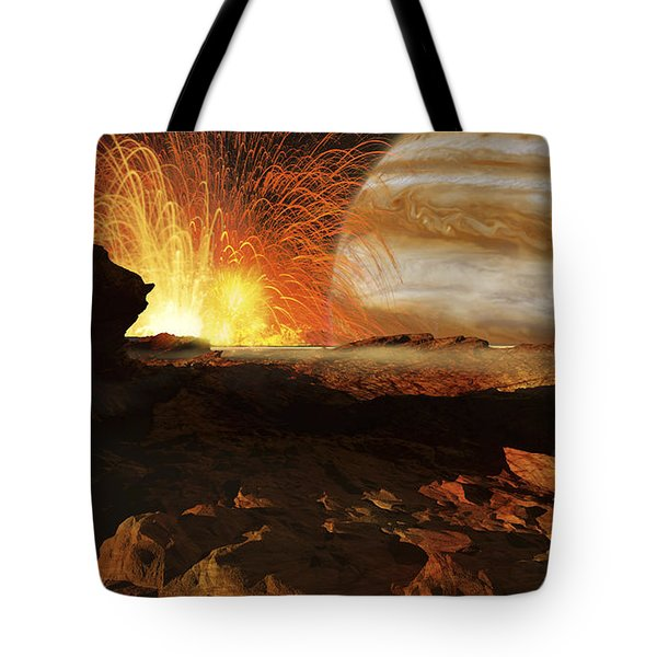A Scene On Jupiters Moon, Io, The Most Tote Bag by Ron Miller