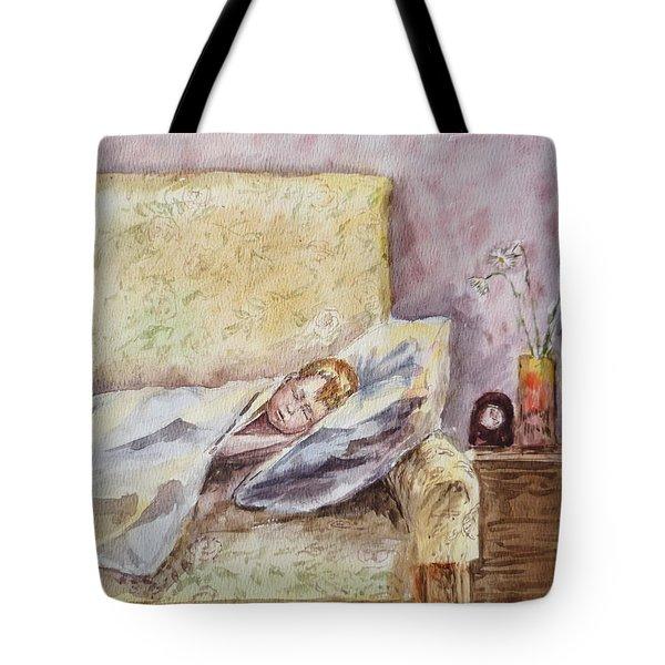 A Sleeping Toddler Tote Bag by Irina Sztukowski