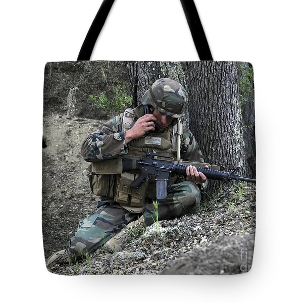 A Soldier Communicates His Position Tote Bag by Stocktrek Images