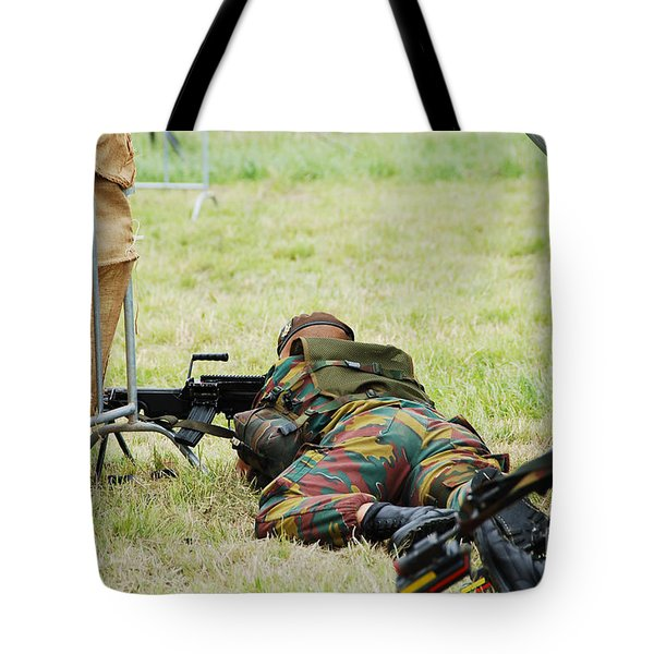 A Soldier Of The Belgian Army On Guard Tote Bag by Luc De Jaeger