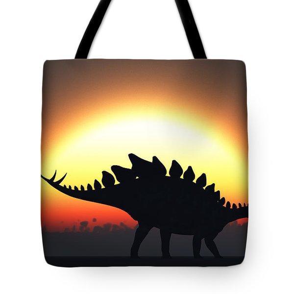 A Stegosaurus Silhouetted Tote Bag by Mark Stevenson