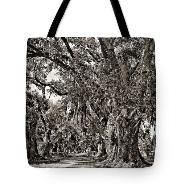 A Stroll Through Time monochrome Tote Bag by Steve Harrington