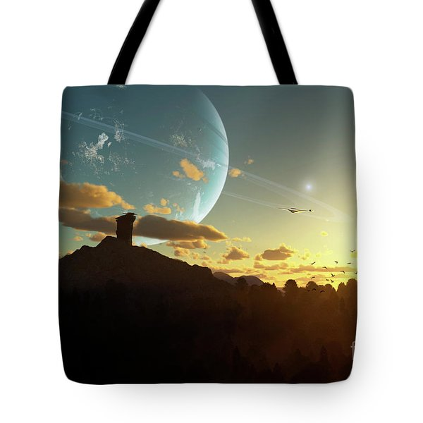 A Sunset On A Forested Moon Which Tote Bag by Brian Christensen