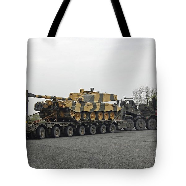 A Tank Transporter Hauling A Challenger Tote Bag by Andrew Chittock