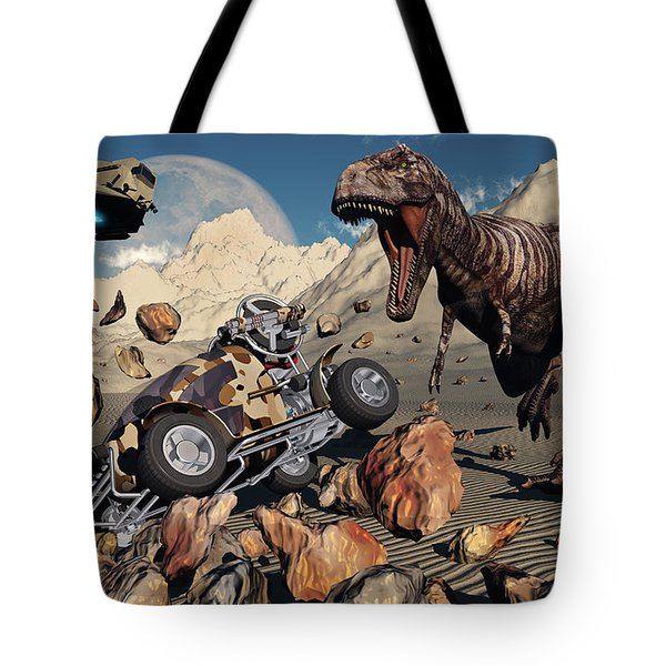 A Team Of Time Travelling Explorers Try Tote Bag by Mark Stevenson