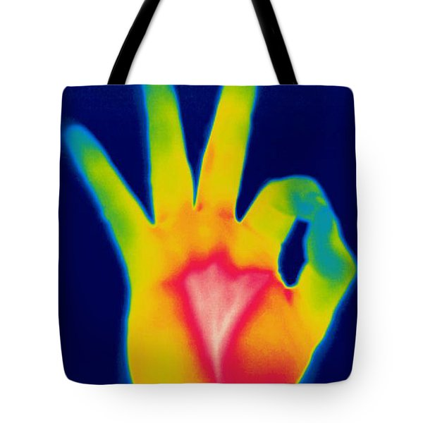 A Thermogram Of A Hand Giving The Ok Tote Bag by Ted Kinsman