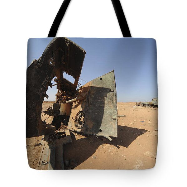 A Tracked Artillery Vehicle Destroyed Tote Bag by Andrew Chittock