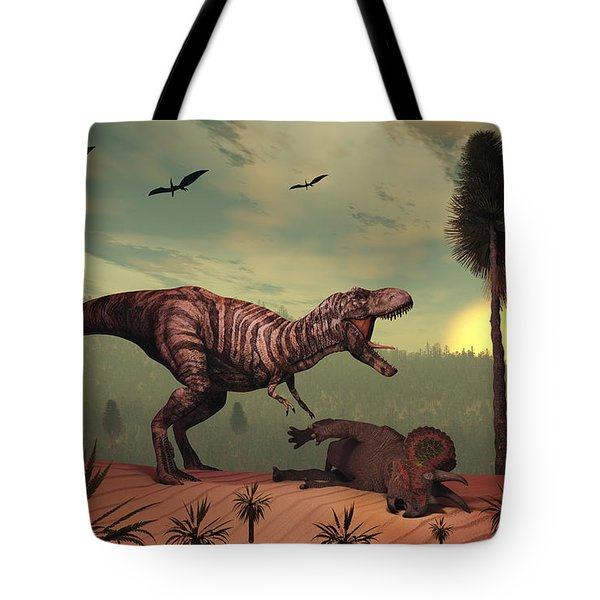 A Triceratops Falls Victim Tote Bag by Mark Stevenson