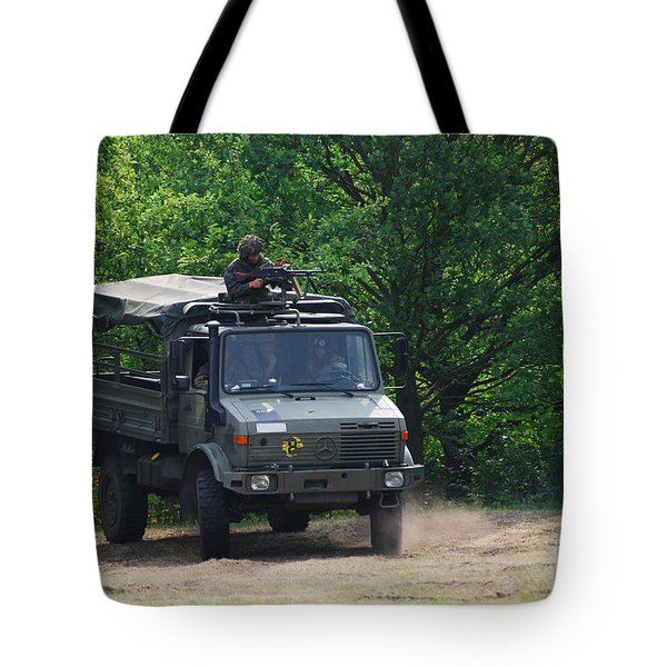 A Unimog Vehicle Of The Belgian Army Tote Bag by Luc De Jaeger