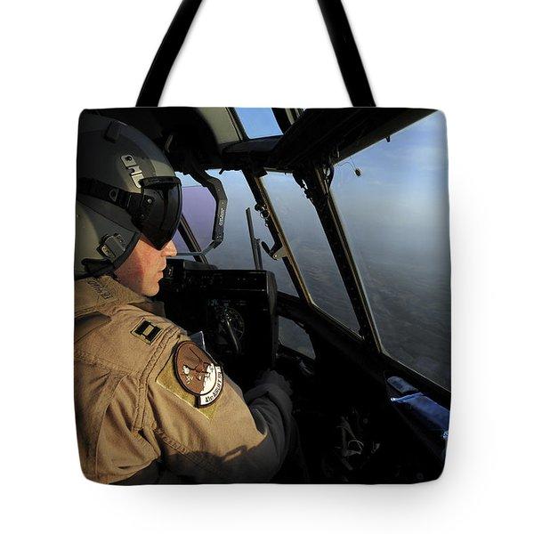 A U.s. Air Force C-130j Hercules Pilot Tote Bag by Stocktrek Images