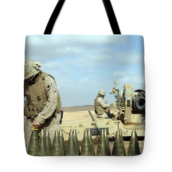 A U.s. Marine Prepares Howitzer Rounds Tote Bag by Stocktrek Images