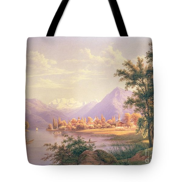 A View Of Scherzingen On The Lake Of Thun Tote Bag by Jakob Suter