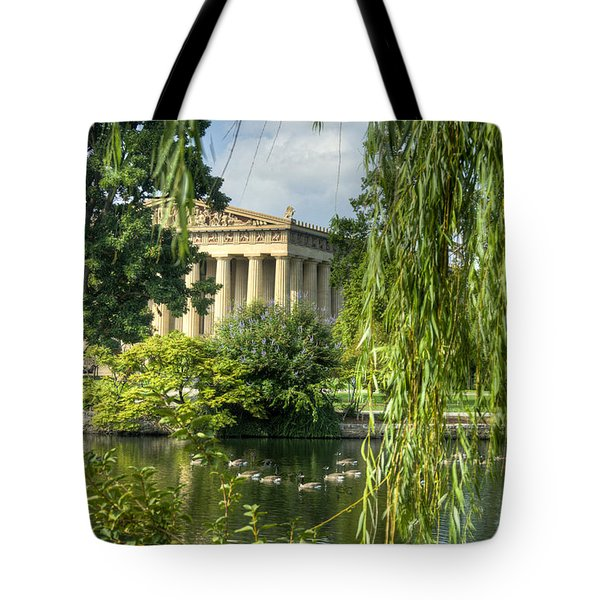 A View Of The Parthenon 16 Tote Bag by Douglas Barnett