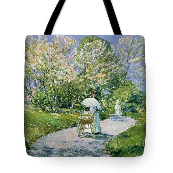 A Walk In The Park Tote Bag by Childe Hassam