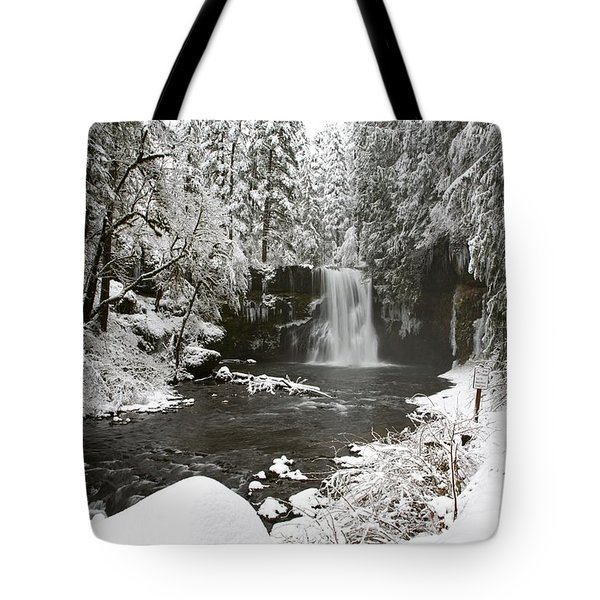 A Waterfall In To A River In Winter Tote Bag by Craig Tuttle