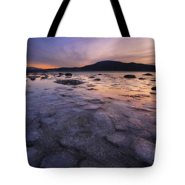 A Winter Sunset At Evenskjer In Troms Tote Bag by Arild Heitmann