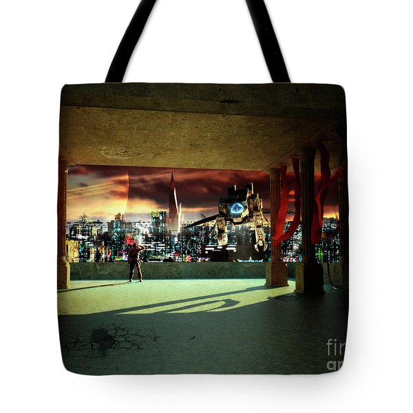 A Woman Spys From The Shadows Tote Bag by Brian Christensen