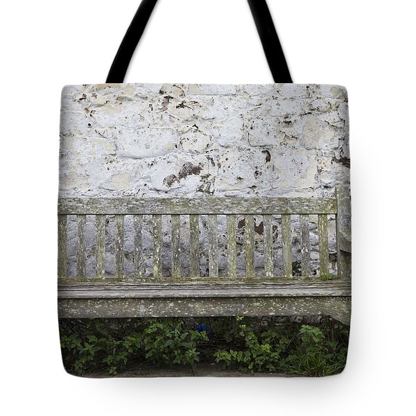 A Wooden Bench With Peeling Paint Tote Bag by John Short