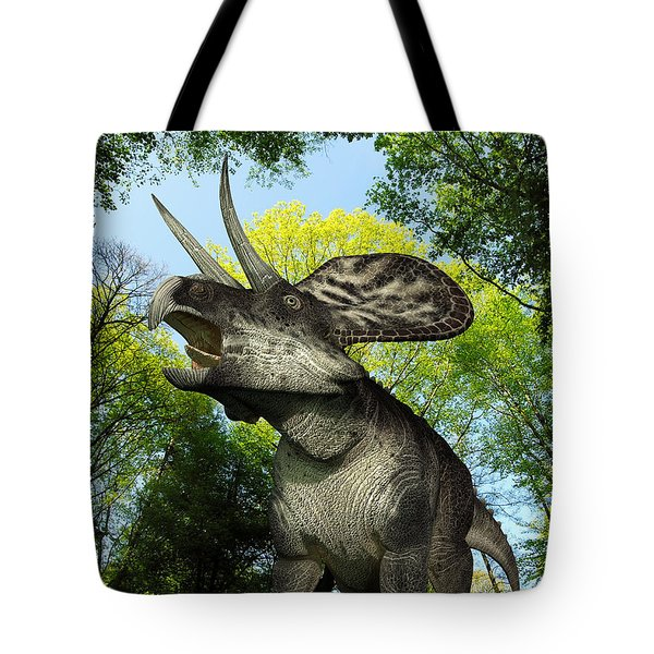 A Zuniceratops Wanders A Cretaceous Tote Bag by Walter Myers
