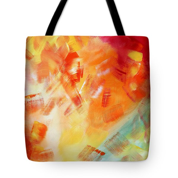 Abstract Art Colorful Bright Pastels Original Painting Spring Is Here I By Madart Tote Bag by Megan Duncanson