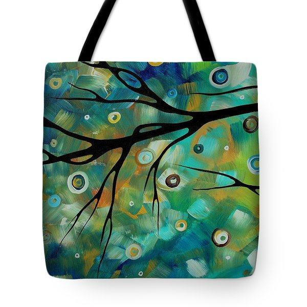 Abstract Art Original Landscape Painting Colorful Circles Morning Blues II By Madart Tote Bag by Megan Duncanson