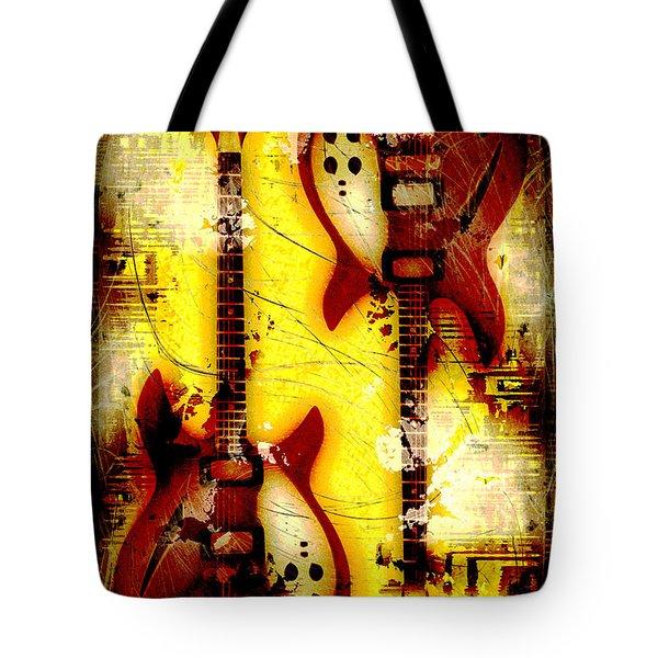 Abstract Grunge Guitars Tote Bag by David G Paul