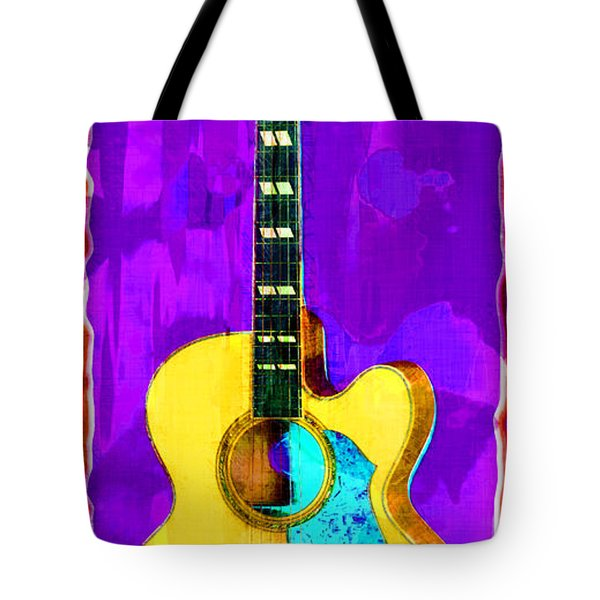 Acoustic Guitar Abstract Tote Bag by David G Paul
