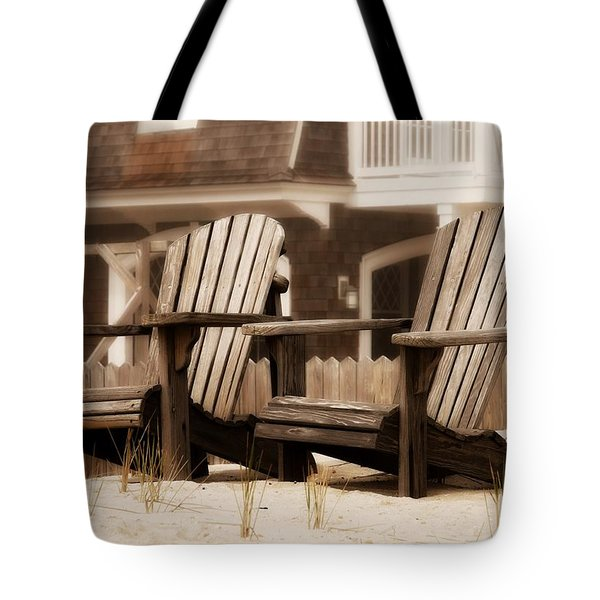 Adirondack Chairs On The Beach - Jersey Shore Tote Bag by Angie Tirado